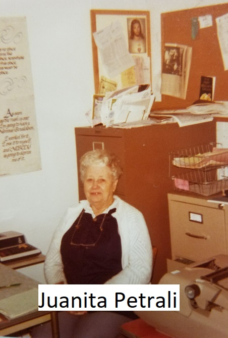 Picture of Juanita working in the office in the 1970s
